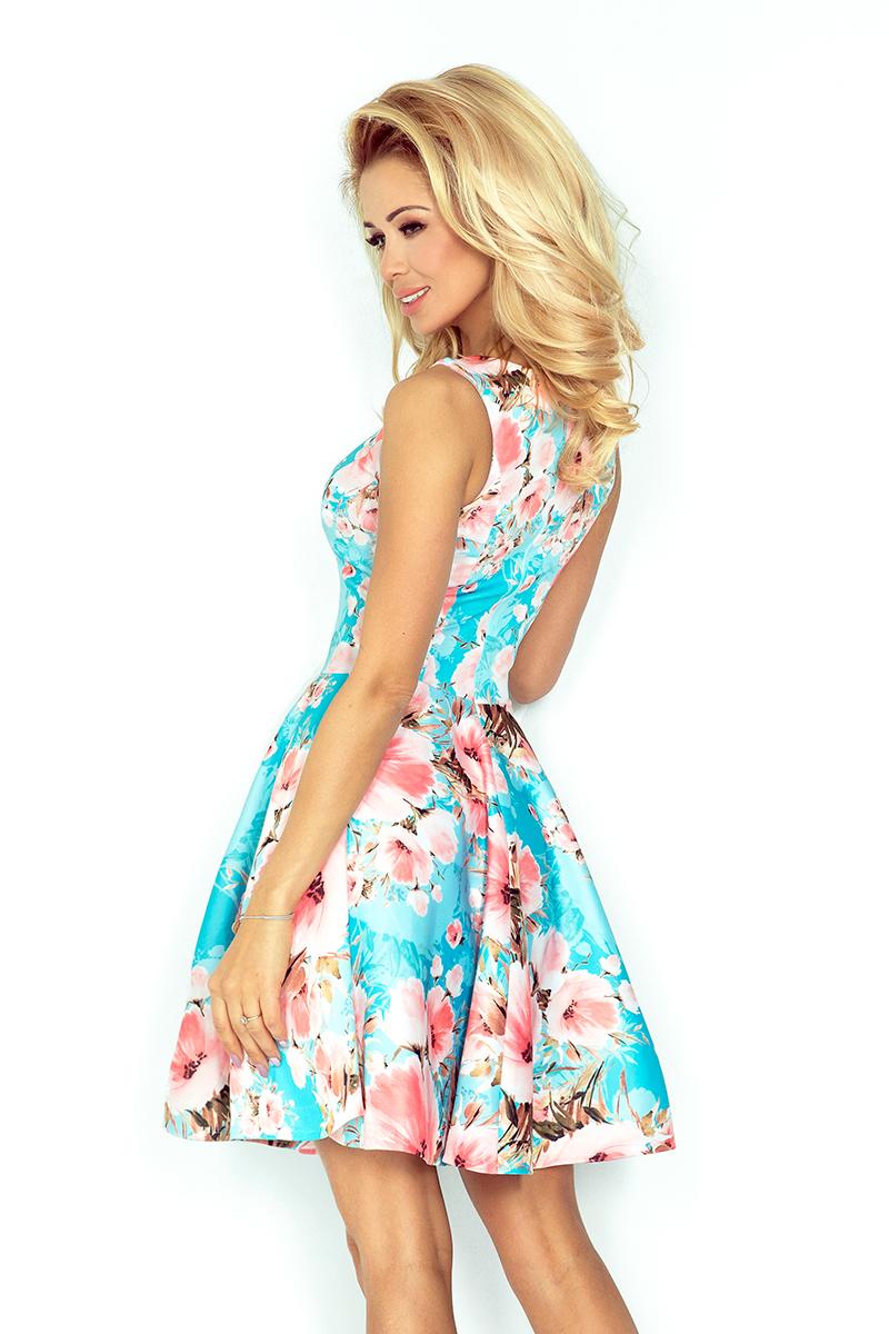 37080cc29c ... Błękitna Sukienka w Kwiaty Rozkloszowana bez Rękawów z Dekoltem w Łódkę  ...