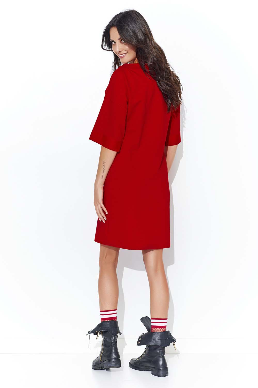 64b3bf9cd1 Czerwona Dresowa Sukienka z Szerokim Rękawem do Łokcia - Molly.pl