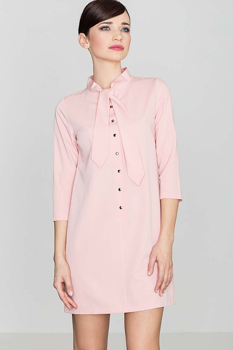 71b652c442e4ca Uniwersalna Różowa Koszulowa Sukienka z Wiązaną pod Szyją Szarfą ...