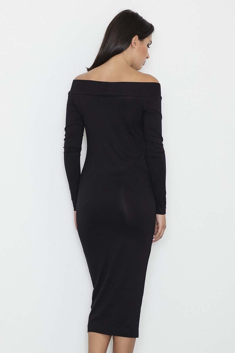 89bce4e670 Czarna Ołówkowa Sukienka za Kolano z Szerokim Dekoltem - Molly.pl
