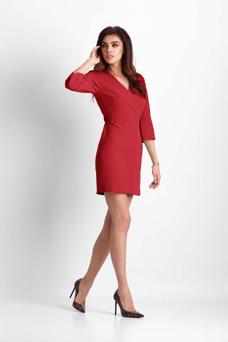 Czerwona Wizytowa Mini Sukienka z Kopertowym Dekoltem Molly.pl