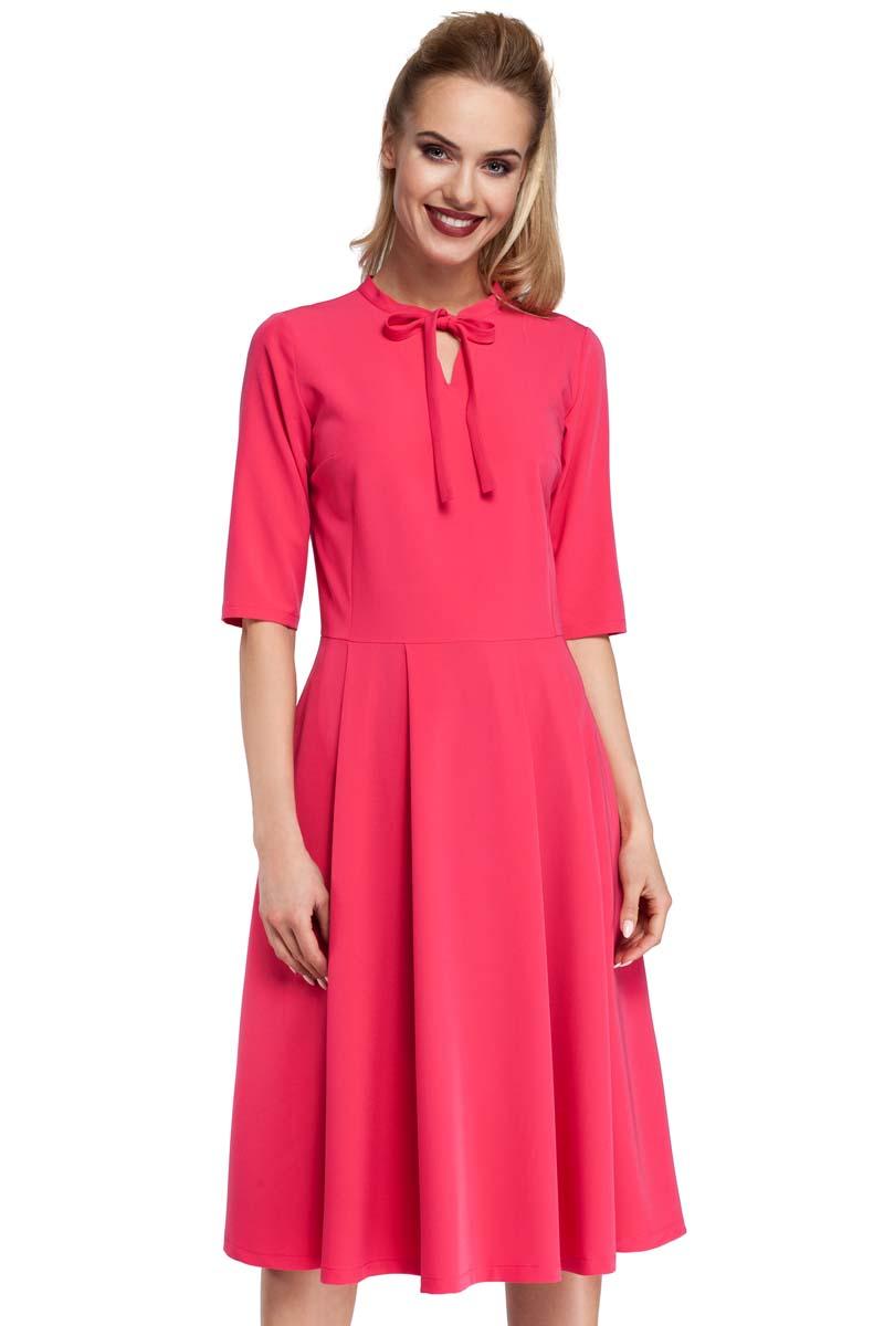 bda5b444cc Różowa Sukienka Elegancka Rozkloszowana z Wiązaniem przy Dekolcie ...