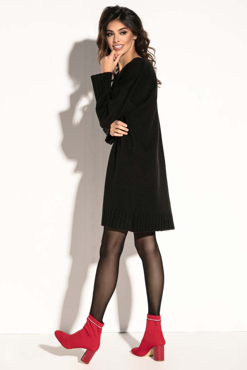 f1ee4873e9 Czarna Krótka Sukienka Wełniana z Dekoltem V - Molly.pl