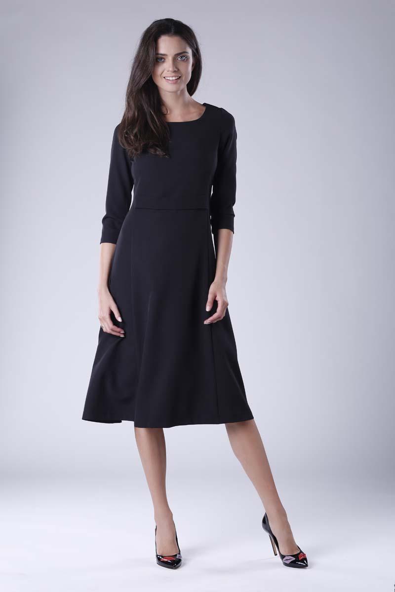 260554cd53 Czarna Rozkloszowana Sukienka Wizytowa z Zaznaczoną Talią - Molly.pl