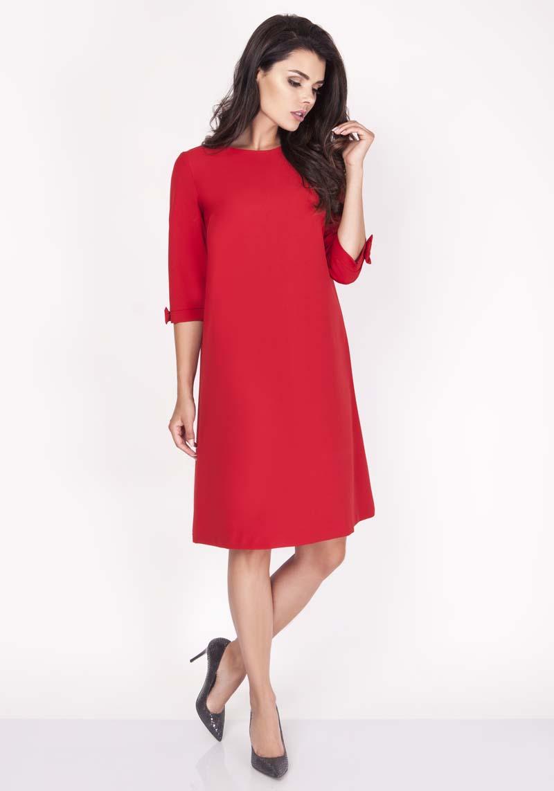 9ab387414d Czerwona Sukienka Trapezowa Mini z Uroczymi Kokardkami - Molly.pl