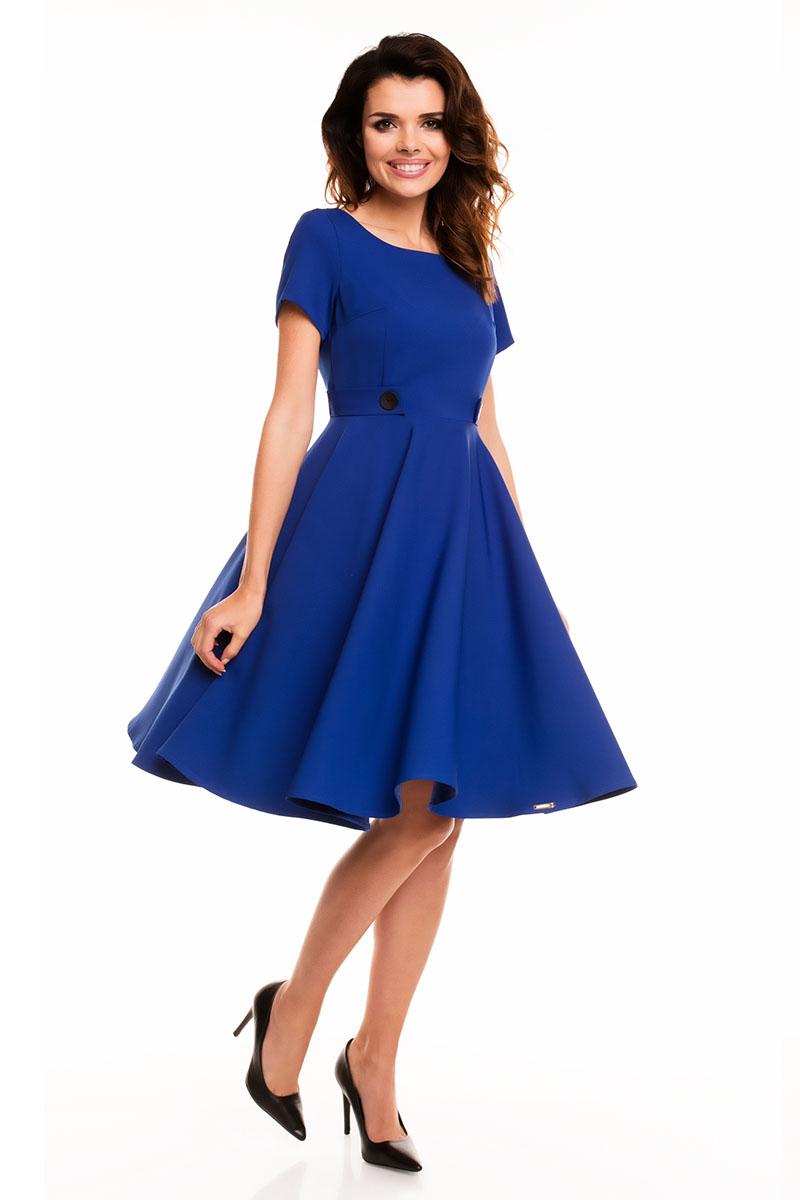 2c70bc2184 Niebieska Rozkloszowana Sukienka z Podkreśloną Talią - Molly.pl