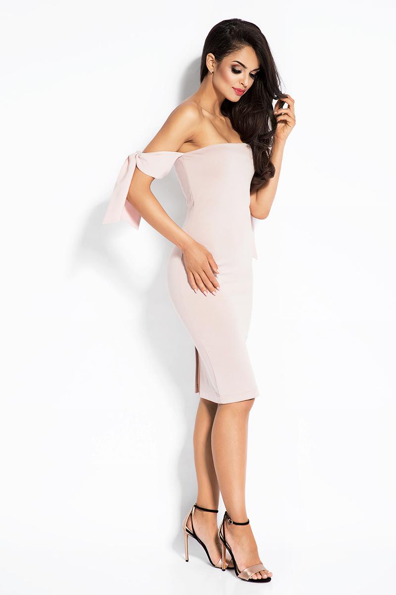 29192d0860 Pudrowa Sukienka z Opadającymi Ramionami Pudrowa Sukienka z Opadającymi  Ramionami ...