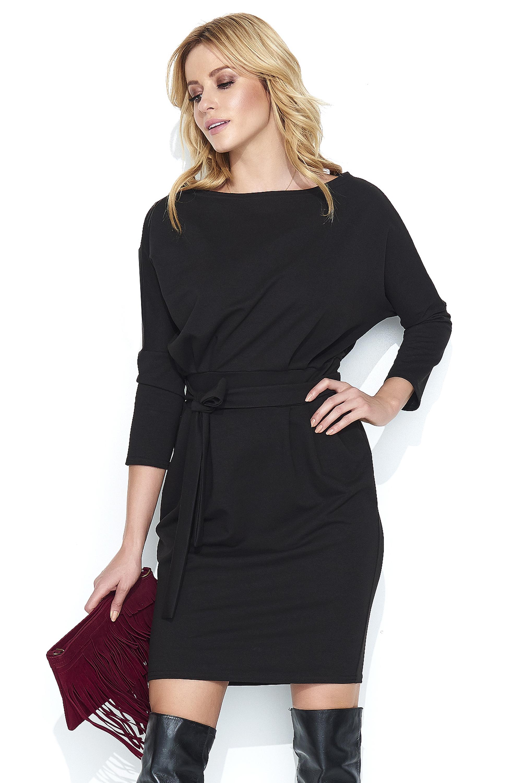 9b5c62569b Dresowa Czarna Sukienka Bombka z Kimonowym Rękawem - Molly.pl