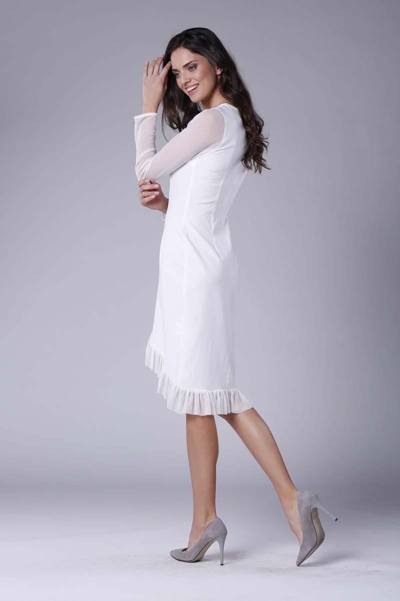 005dd0cb22 Ecru Wizytowa Sukienka z Kopertowym Dołem z Hiszpańską Falbanką ...