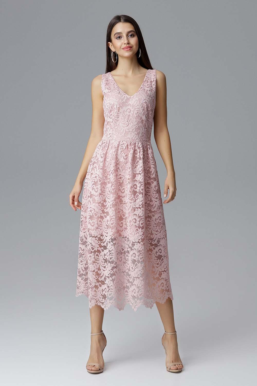 02657bdc47 Różowa Rozkloszowana Sukienka Koronkowa na Szerokich Ramiączkach ...